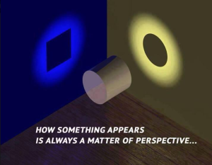 "An image of a room with a cylinder in the middle of the picture. Light is shining on the rounded end of the cylinder onto a yellow wall highlighting a circular shadow. Light is also shining on the curved edges onto a blue wall highlighting a square shadow. Below the cylinder is the phrase: ""HOW SOMETHING APPEARS IS ALWAYS A MATTER OF PERSPECTIVE..."""