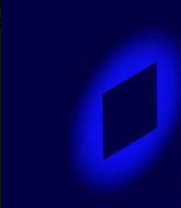 An image of  the shadow of a square on a blue background