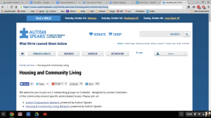 "It is a picture of the Autism Speaks banner bar.  There are five clickable icons: on the far left is an image of a home; the second from the left says ""FAMILIES & ADULTS;"" the middle button says ""RESEARCH;"" the second button from the right says, ""ADVOCATE;"" and the button on the far right says, ""GET INVOLVED."""